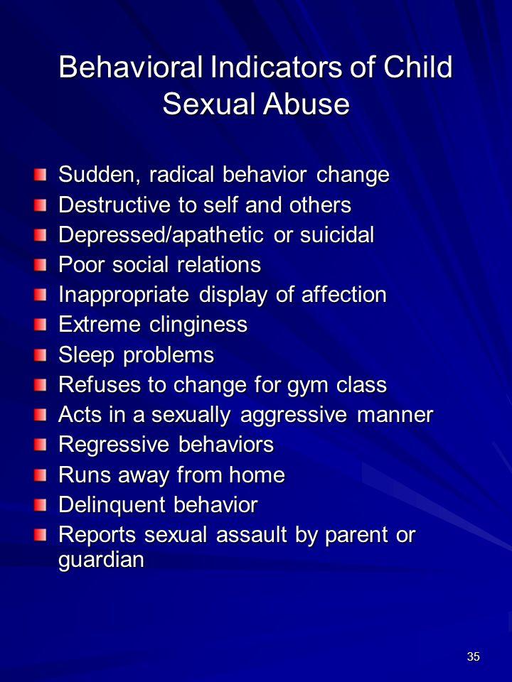 Behavioral Indicators of Child Sexual Abuse