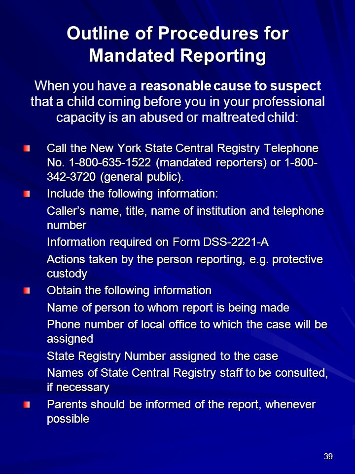Outline of Procedures for Mandated Reporting