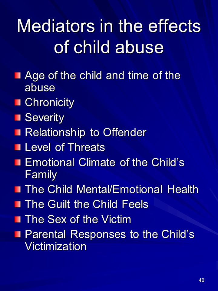 Mediators in the effects of child abuse