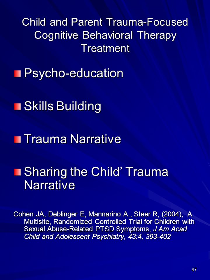 Child and Parent Trauma-Focused Cognitive Behavioral Therapy Treatment