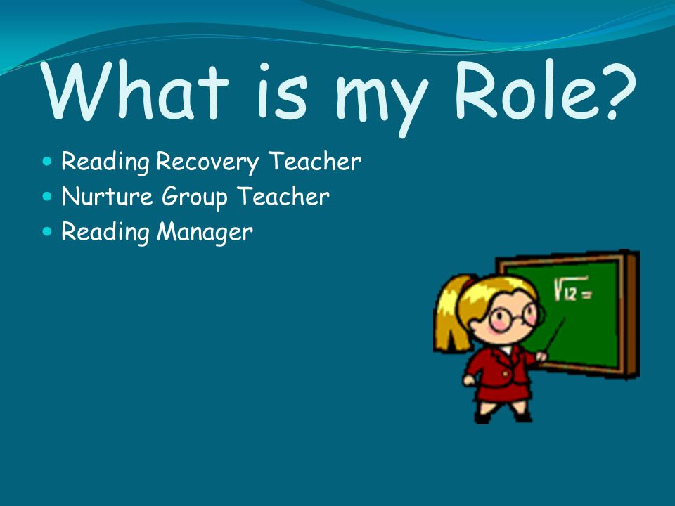 What is my Role Reading Recovery Teacher Nurture Group Teacher