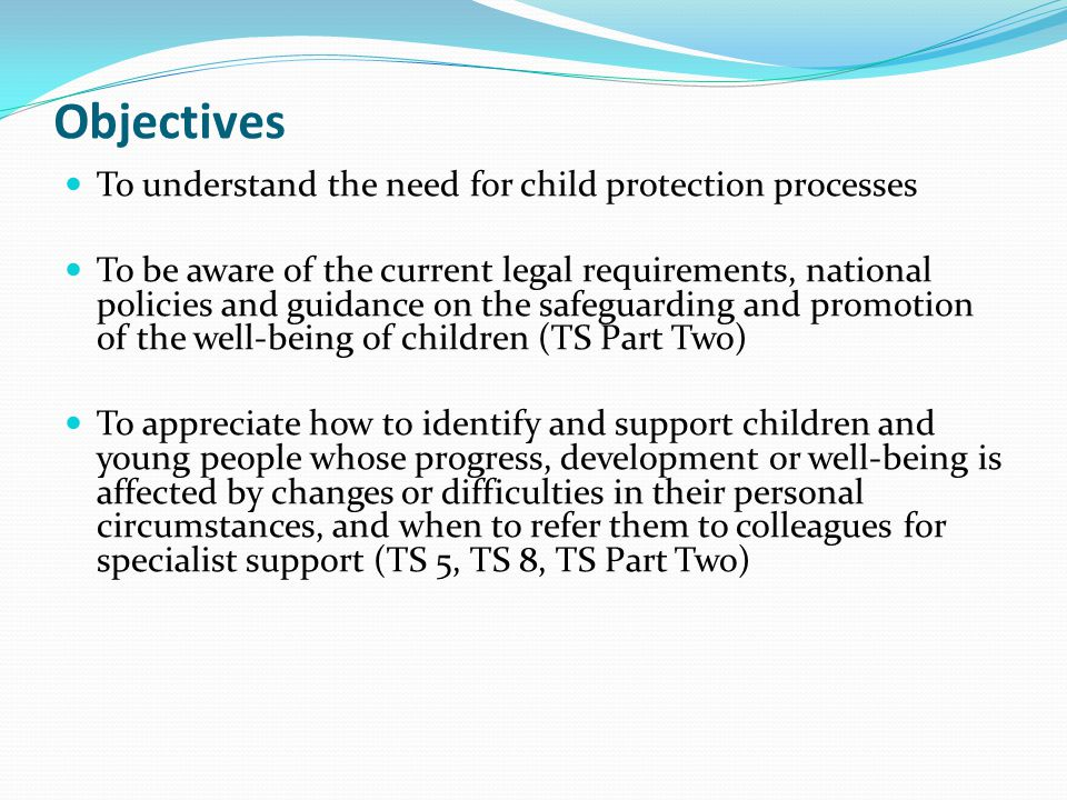 Objectives To understand the need for child protection processes