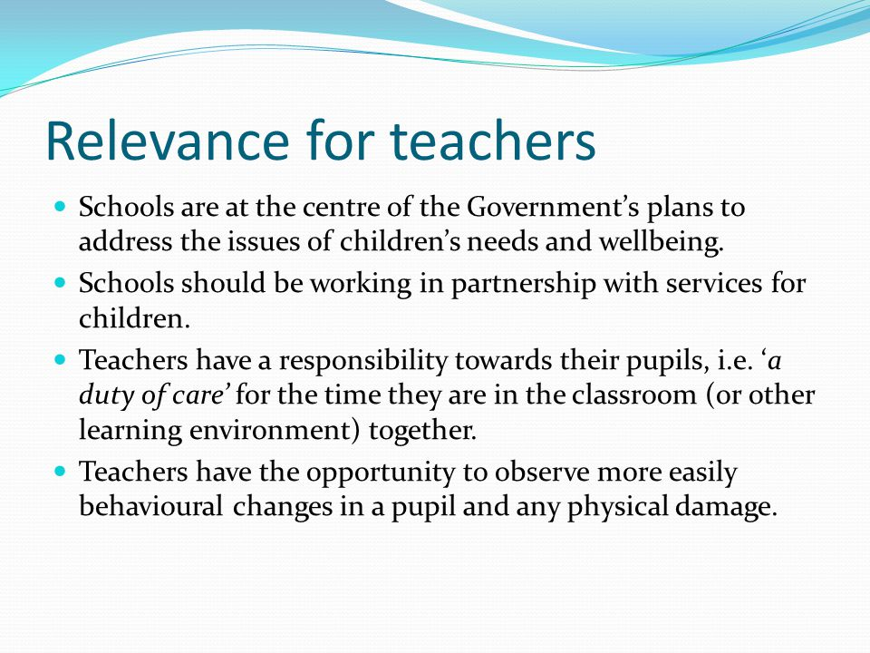 Relevance for teachers