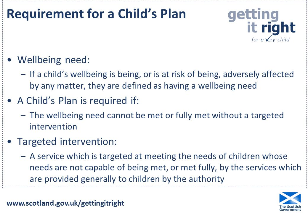 Requirement for a Child's Plan