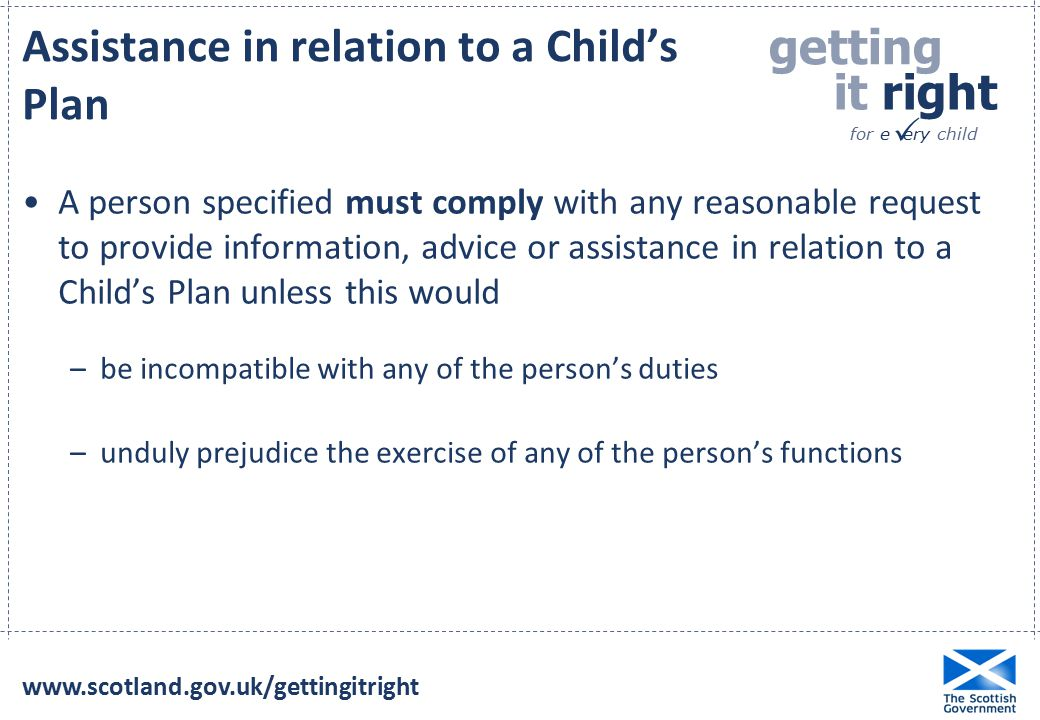 Assistance in relation to a Child's Plan