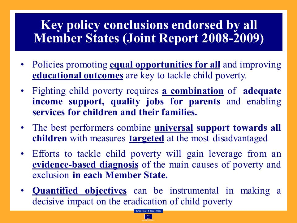 Key policy conclusions endorsed by all Member States (Joint Report 2008-2009)