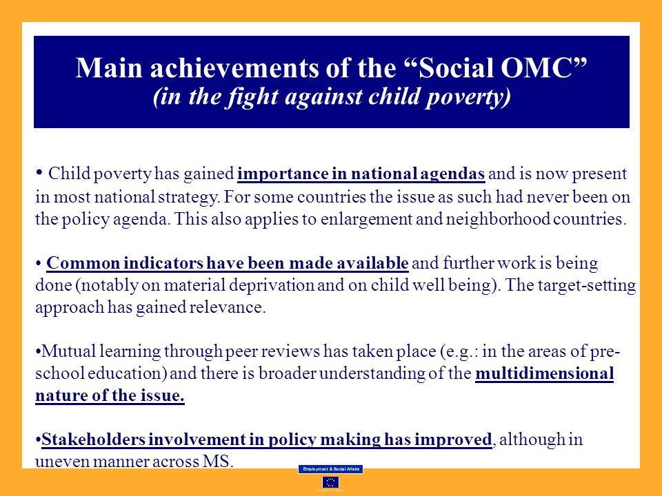 Main achievements of the Social OMC (in the fight against child poverty)