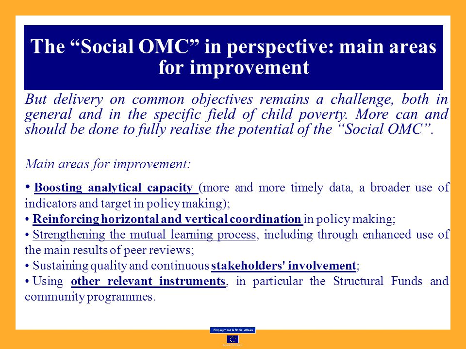 The Social OMC in perspective: main areas for improvement