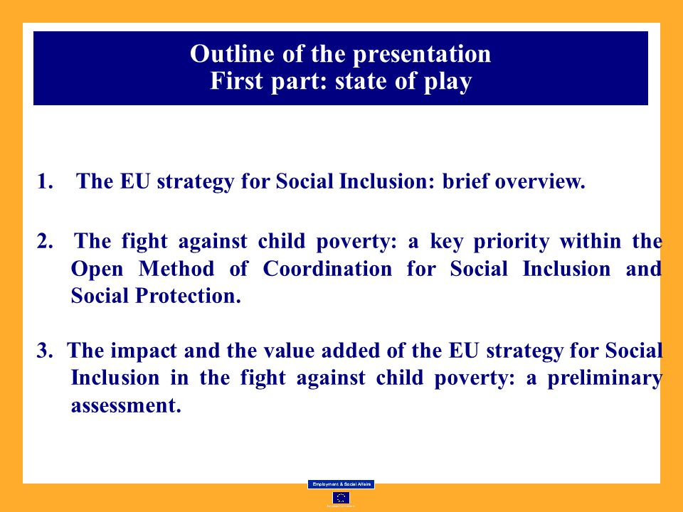 Outline of the presentation First part: state of play
