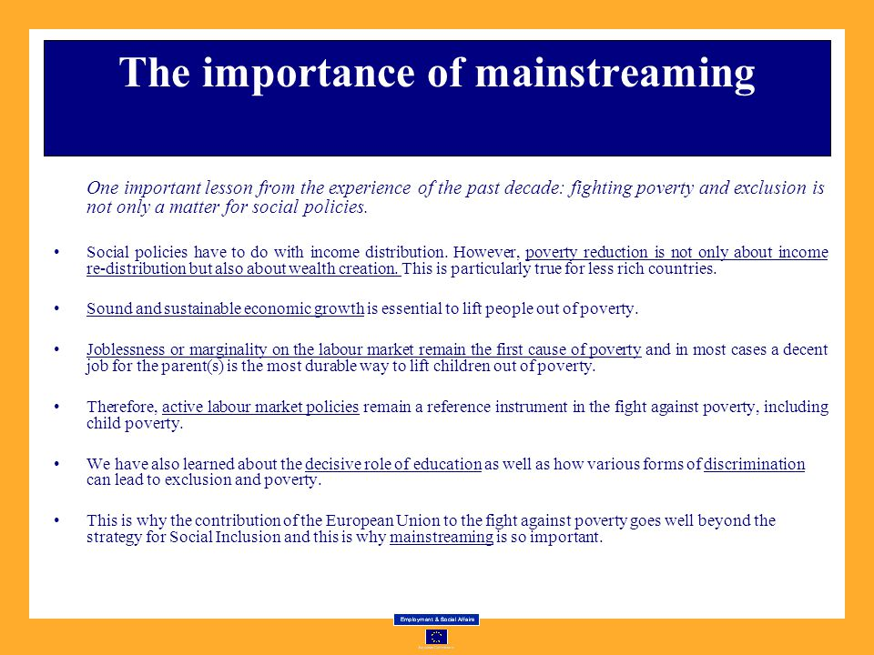 The importance of mainstreaming