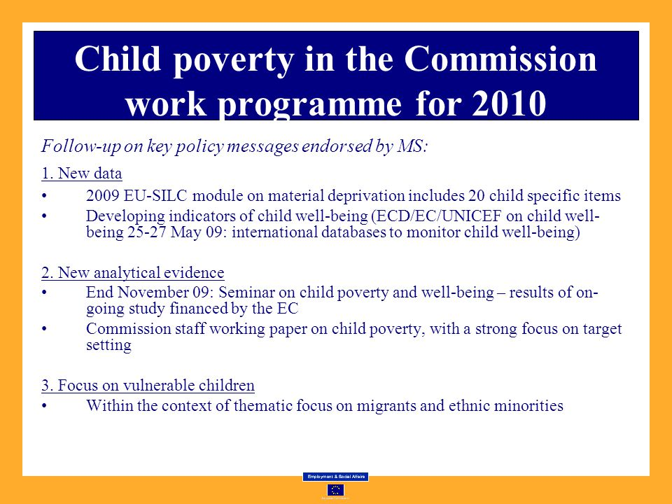 Child poverty in the Commission work programme for 2010