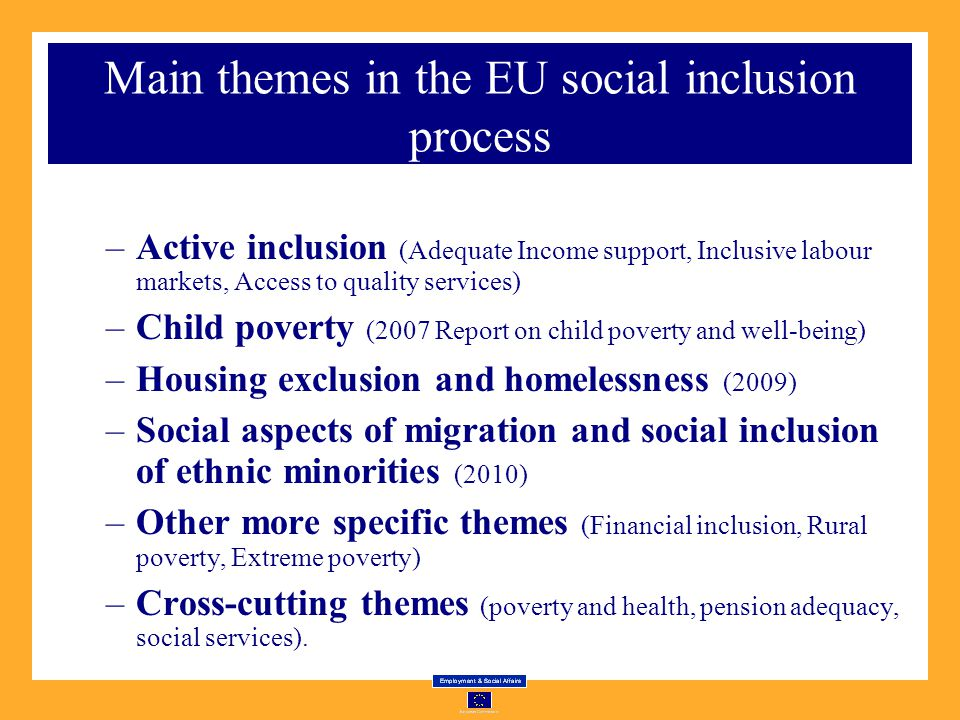 Main themes in the EU social inclusion process