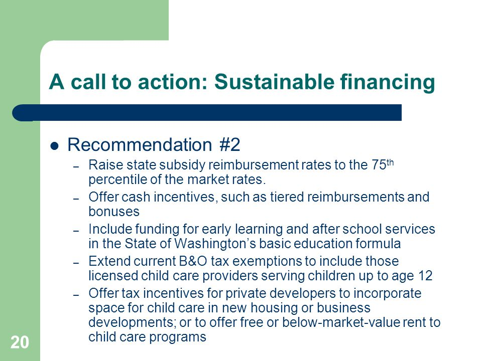 A call to action: Sustainable financing