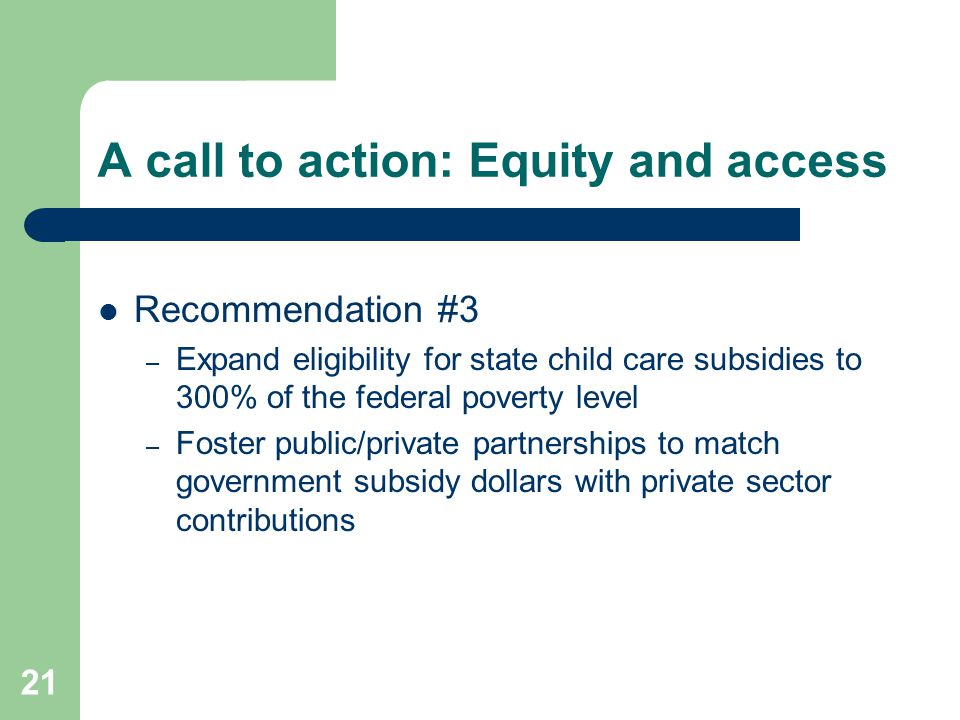 A call to action: Equity and access