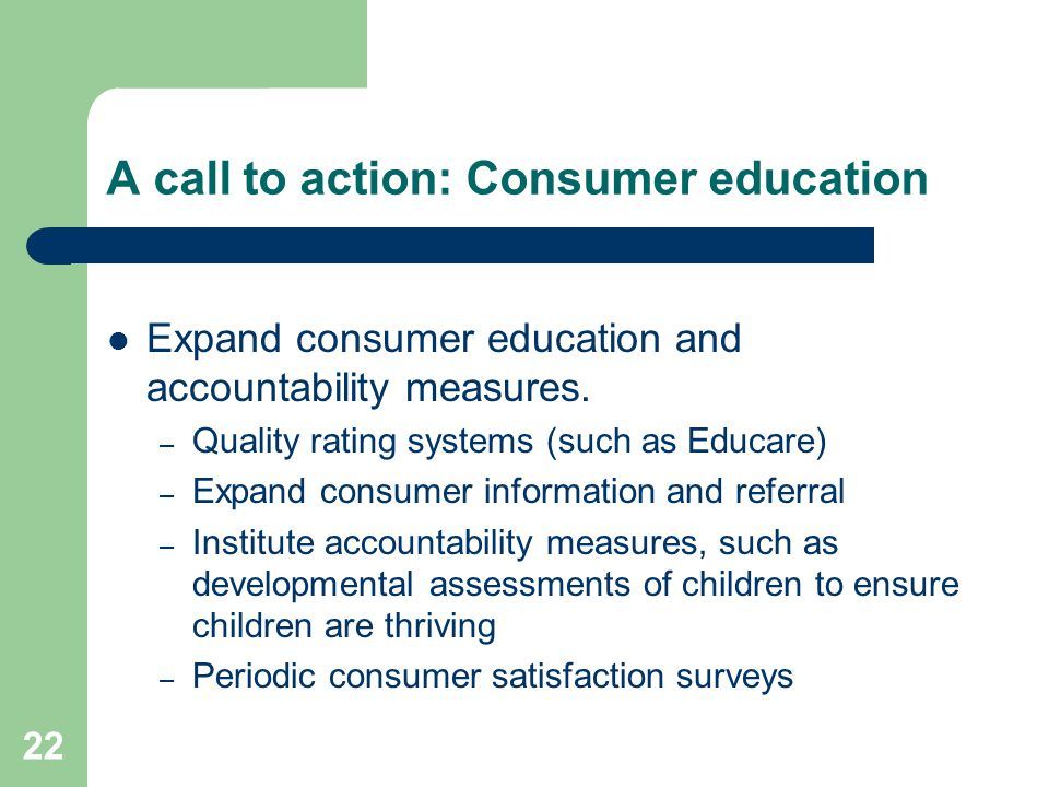 A call to action: Consumer education