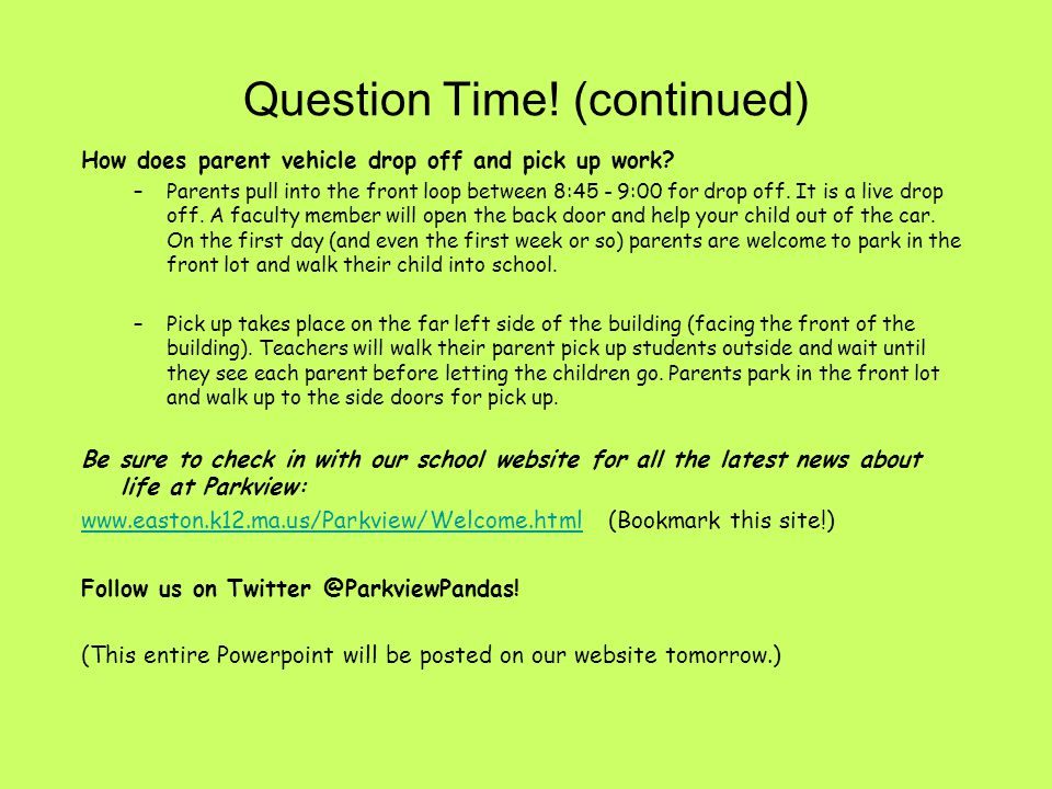 Question Time! (continued)