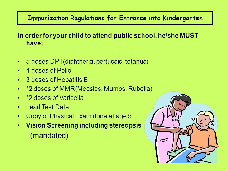Immunization Regulations for Entrance into Kindergarten