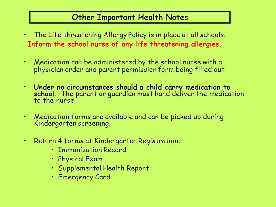 Other Important Health Notes