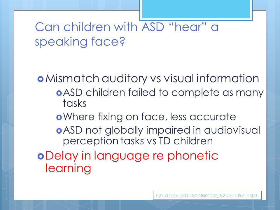 Can children with ASD hear a speaking face