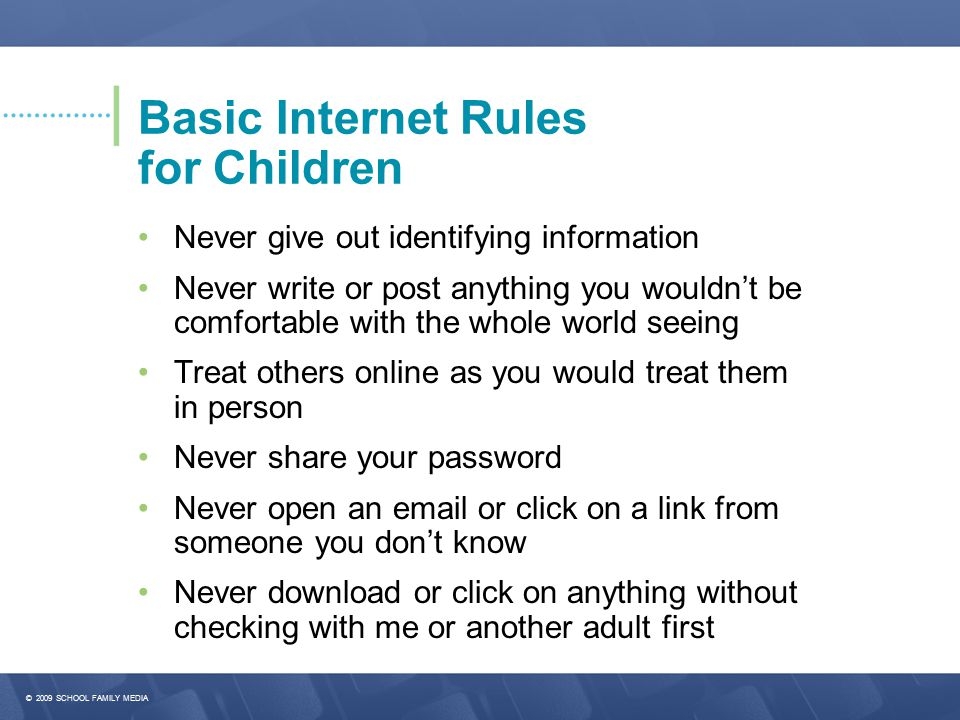 Basic Internet Rules for Children