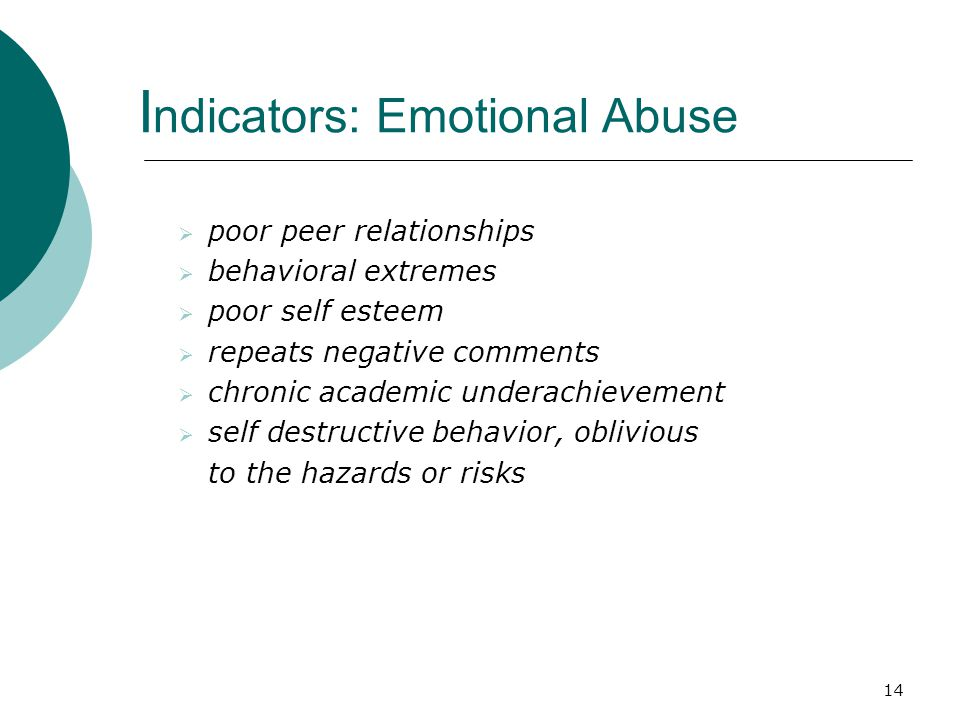 Indicators: Emotional Abuse