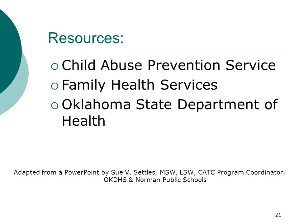 Resources: Child Abuse Prevention Service Family Health Services