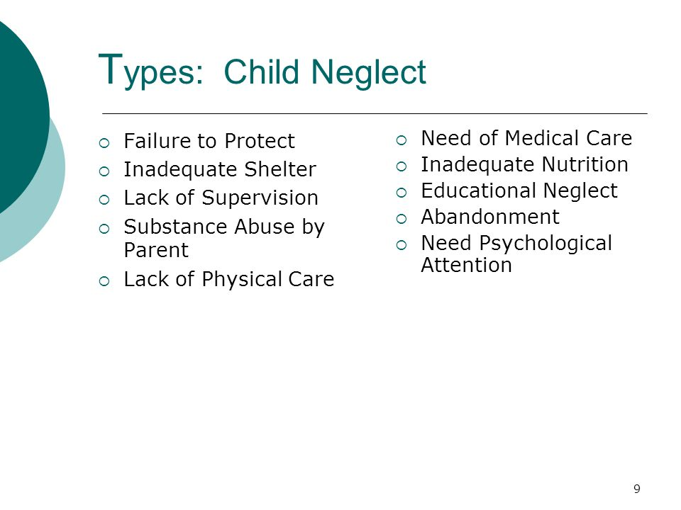 Types: Child Neglect Failure to Protect Inadequate Shelter