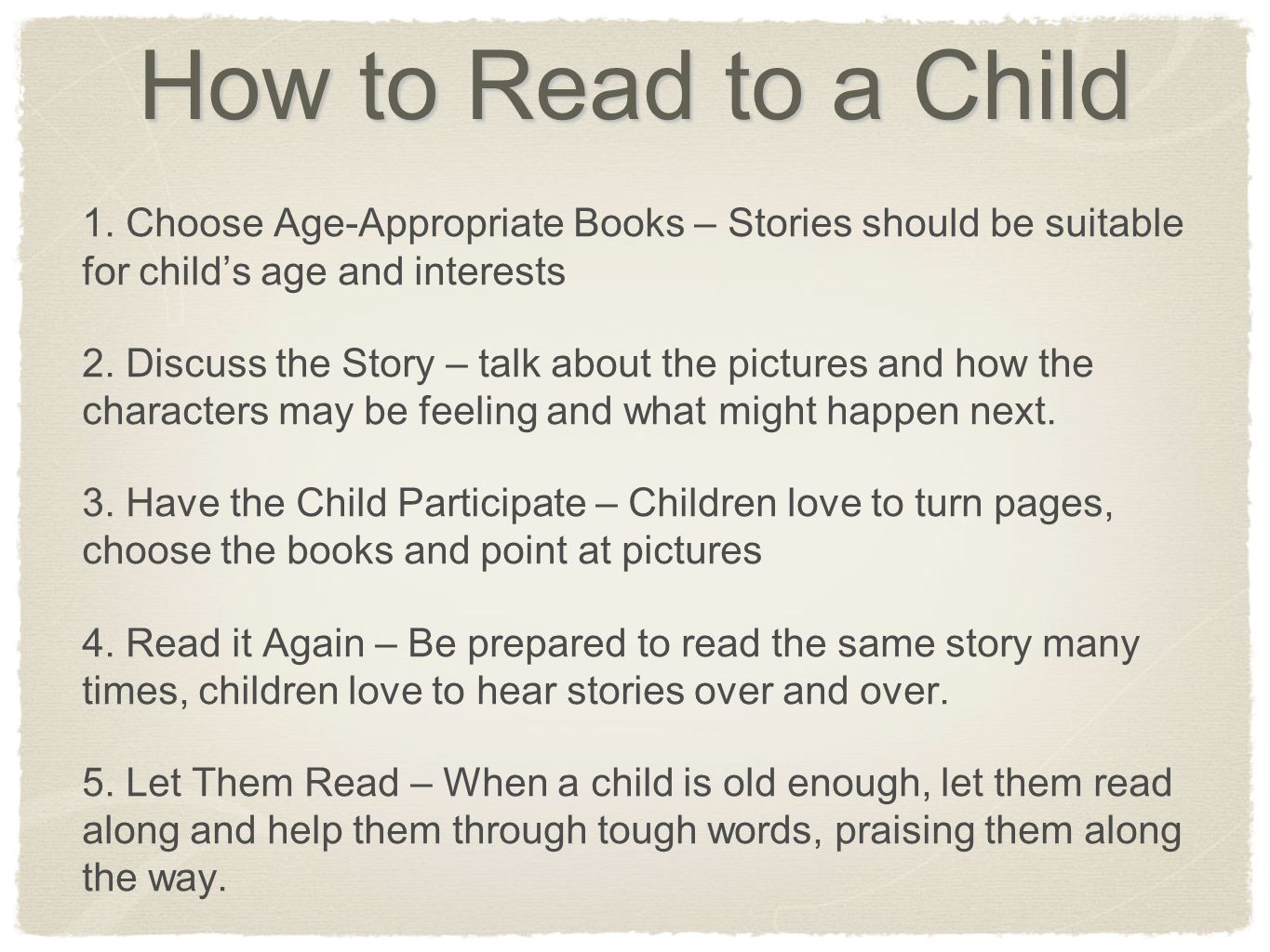 How to Read to a Child