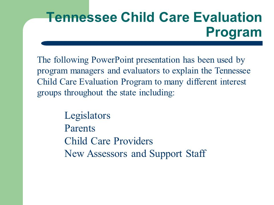 Tennessee Child Care Evaluation Program