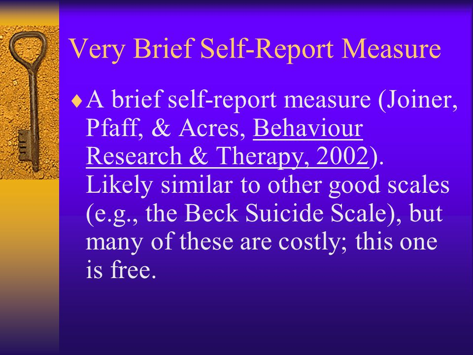 Very Brief Self-Report Measure