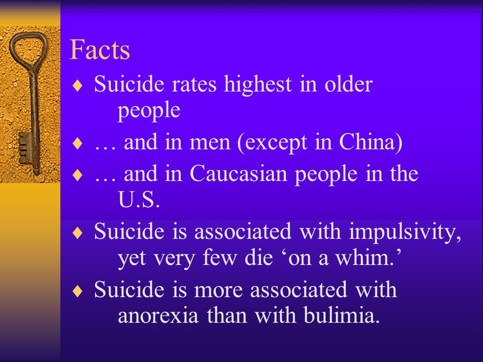 Facts Suicide rates highest in older people
