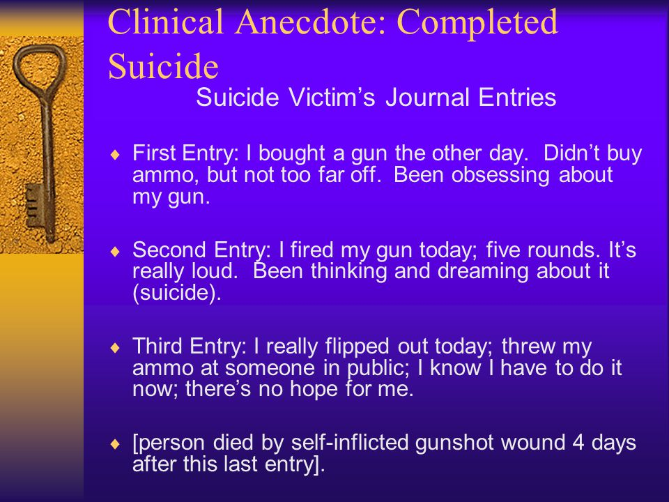 Clinical Anecdote: Completed Suicide