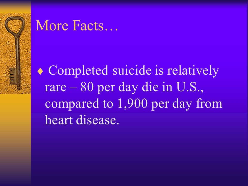 More Facts… Completed suicide is relatively rare – 80 per day die in U.S., compared to 1,900 per day from heart disease.