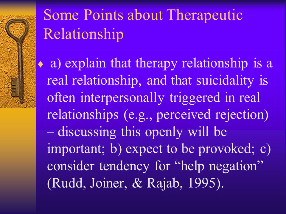 Some Points about Therapeutic Relationship