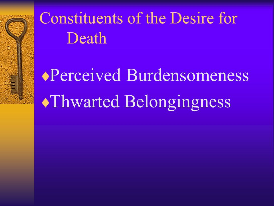 Constituents of the Desire for Death