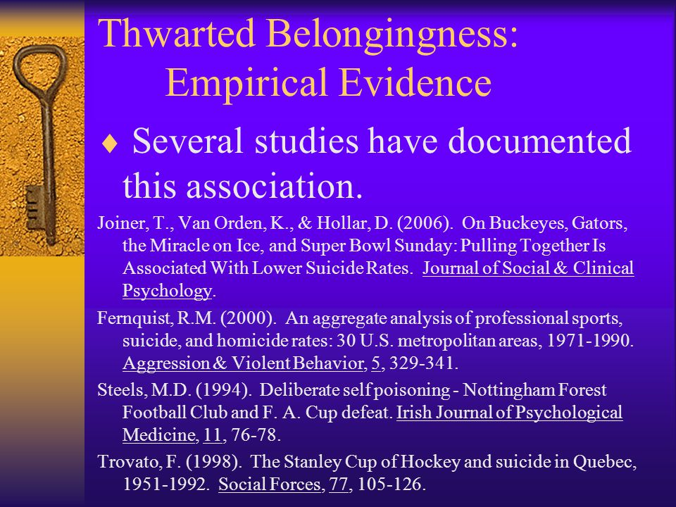 Thwarted Belongingness: Empirical Evidence