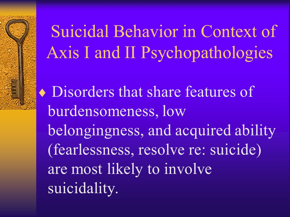 Suicidal Behavior in Context of Axis I and II Psychopathologies