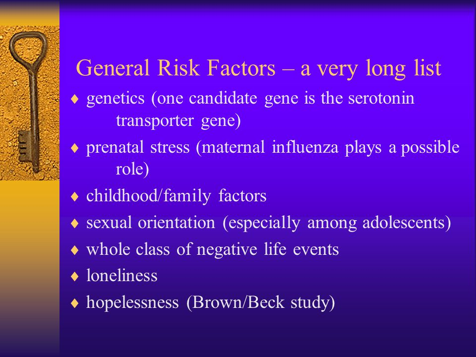 General Risk Factors – a very long list