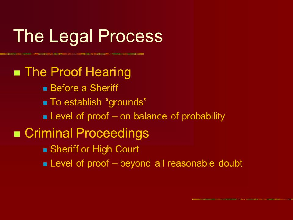 The Legal Process The Proof Hearing Criminal Proceedings