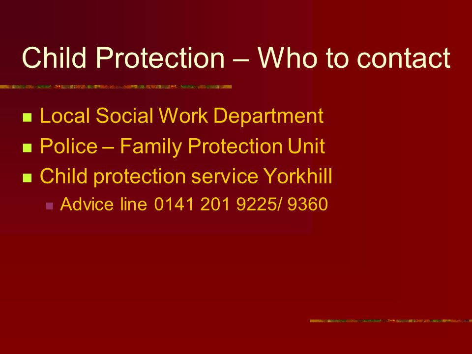 Child Protection – Who to contact