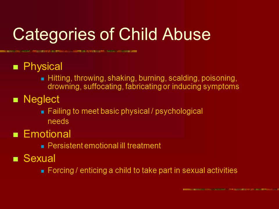 Categories of Child Abuse