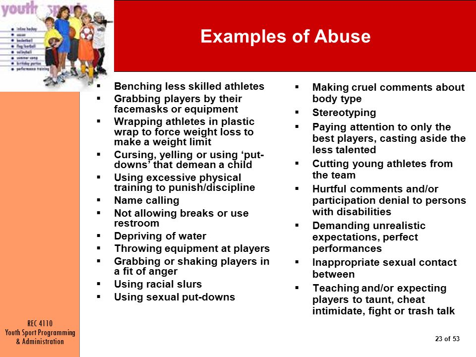 Examples of Abuse Benching less skilled athletes