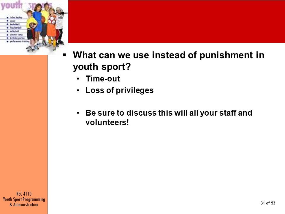 What can we use instead of punishment in youth sport