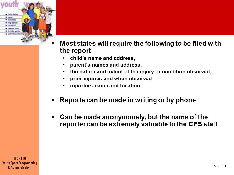Most states will require the following to be filed with the report