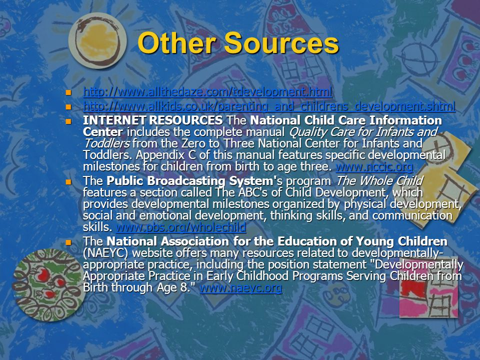 Other Sources http://www.allthedaze.com/tdevelopment.html