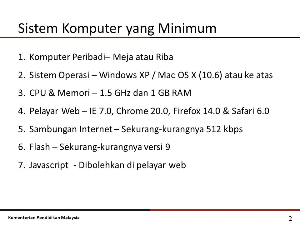Sistem Komputer yang Minimum