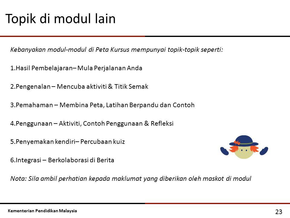 Topik di modul lain Kebanyakan modul-modul di Peta Kursus mempunyai topik-topik seperti: Hasil Pembelajaran– Mula Perjalanan Anda.