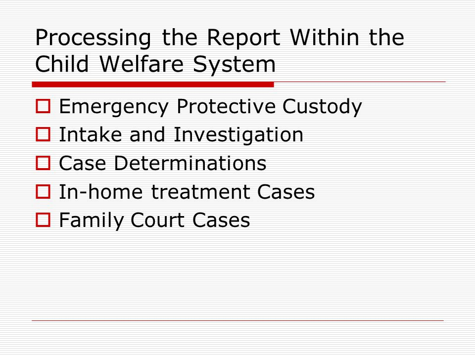 Processing the Report Within the Child Welfare System