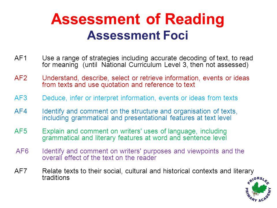 Assessment of Reading Assessment Foci