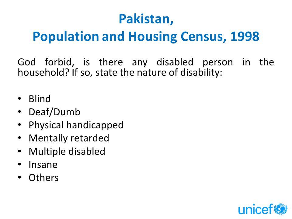 Pakistan, Population and Housing Census, 1998